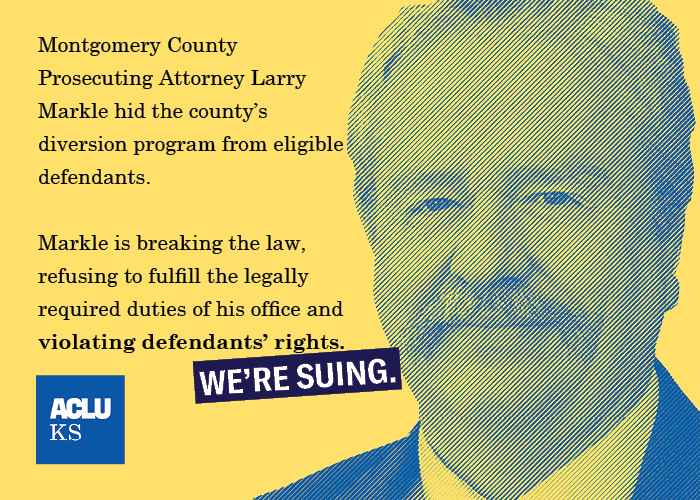 Montgomery County DA Larry Markle hid the county diversion program from eligible defendants. He is breaking the law, refusing to fulfill the legally required duties of his office, and violating defendants' rights.