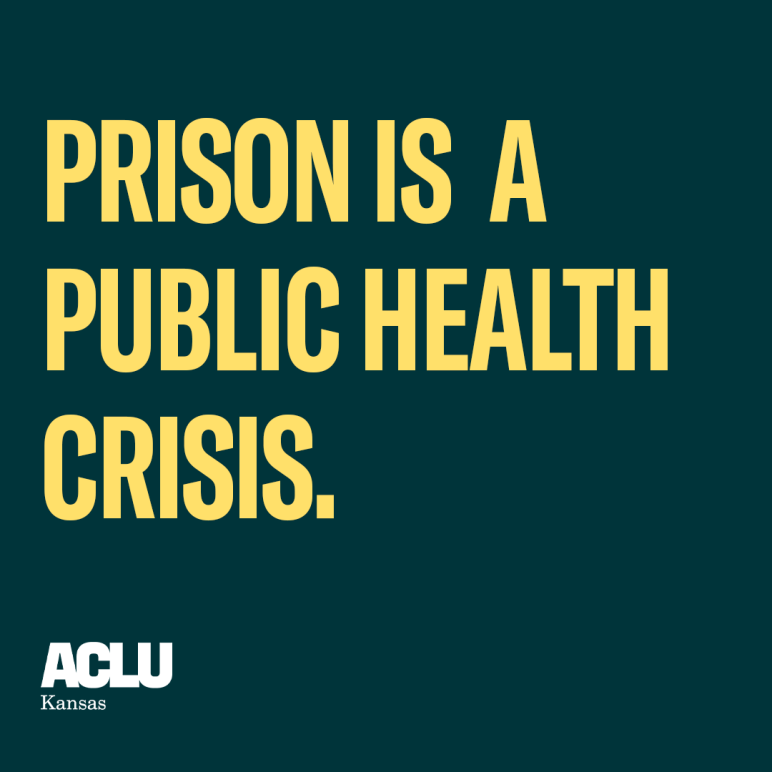 prison is a public health crisis (yellow on dark green background)