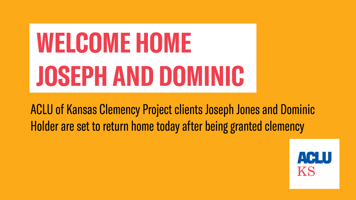 Welcome Home Joseph and Dominic. ACLU of Kansas Clemency Project clients Joseph Jones and Dominic Holder are set to return home today after being granted clemency