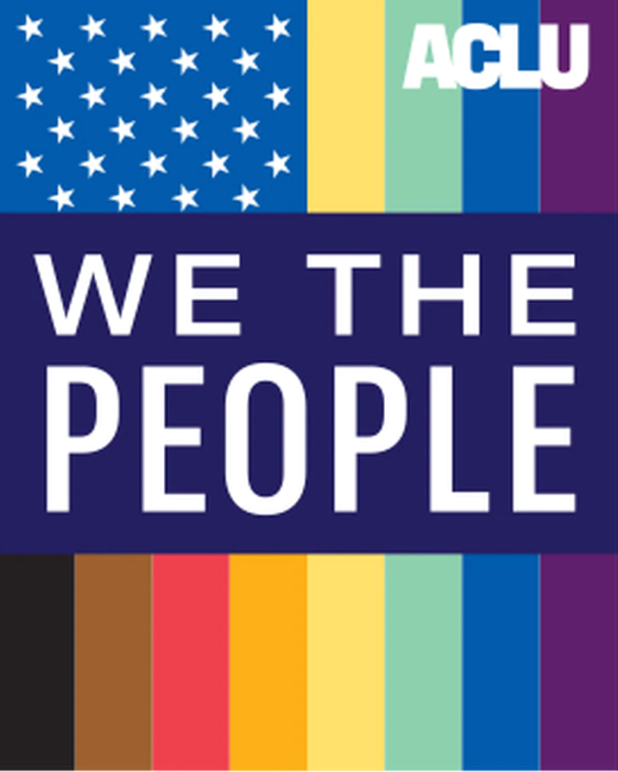 lgbtq flag that reads WE THE PEOPLE